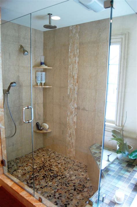 Waterfall Shower Doors Master Bath Design Mixing Materials Greenwood