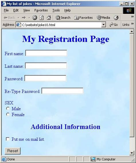 design a html page registration page design in html