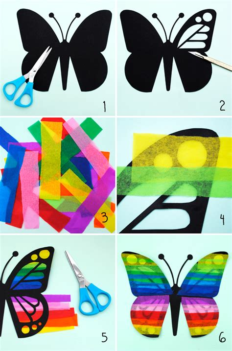 Tissue Paper Suncatcher Craft - butterfly sun catchers minieco