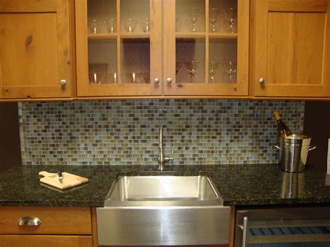 simple mosaic kitchen tile backsplash with modern sink