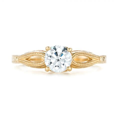 custom yellow gold solitaire engagement ring 103366