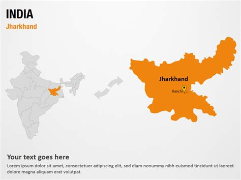 Jharkhand India Powerpoint Map Slides Jharkhand India Map Ppt Slides Powerpoint Map India Map Ppt