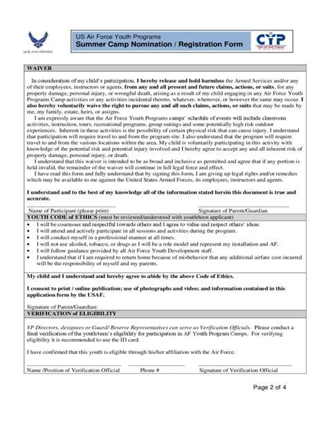 summer c registration form template summer c nomination registration form us air