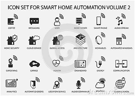 smart home automation icon set in flat design stock vector