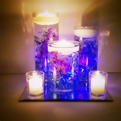 candle centerpieces for wedding wedding centerpiece floating candle centerpiece purple