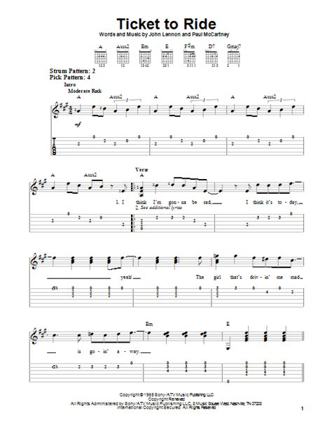 Ticket To Ride Guitar Chords