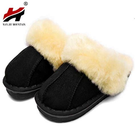 mens sheepskin slippers australia winter warm indoor shoes thick wool slippers