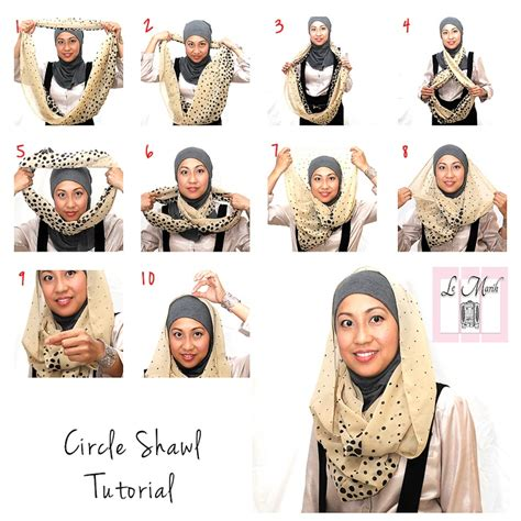 Tutorial Jilbab Nabiilabee | lemarih circle shawl basic tutorial hijab tutorials