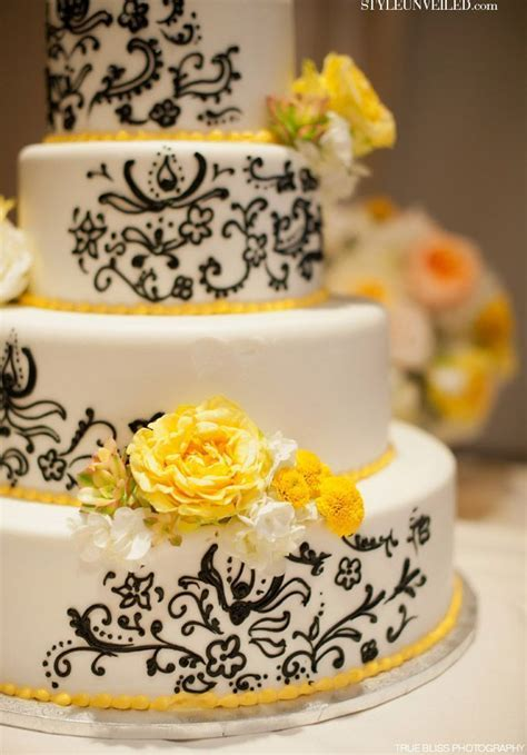 black yellow gray wedding cakes       Style Unveiled   A