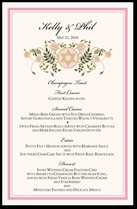 design a kosher menu 34 best images about wedding menu cards on pinterest