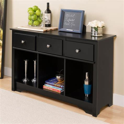shop prepac furniture black rectangular console and sofa