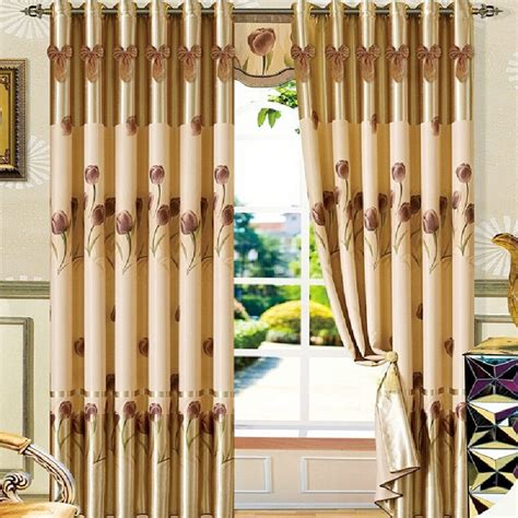 decorative curtain decorative tulip floral pattern coffee and gold thick