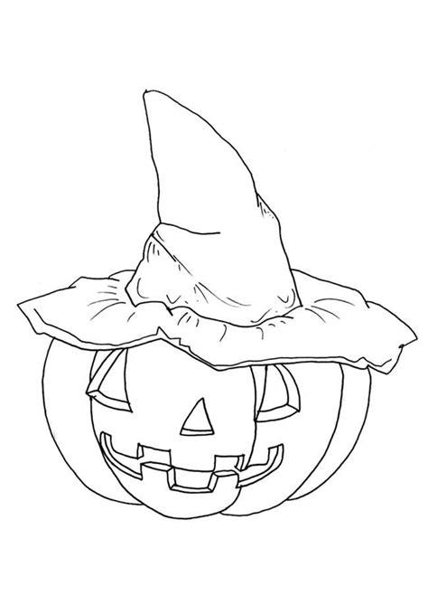 Coloriage halloween citrouille chapeau sur Hugolescargot.com