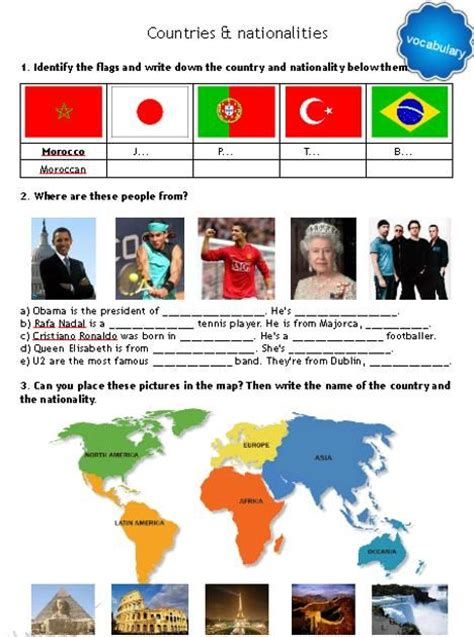 Nationalities In Worksheet by Countries And Nationalities Worksheets
