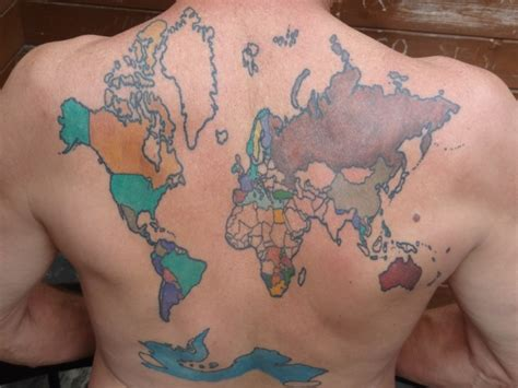world tattoos backpacker gets world map on his back colors