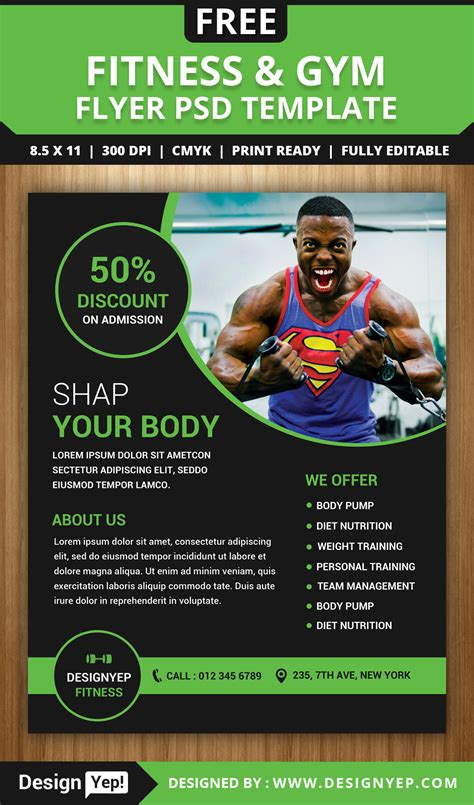 free gym and fitness flyer psd template designyep