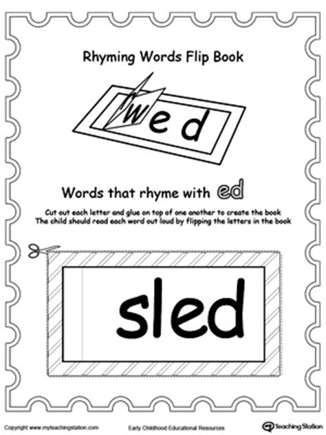 words that rhyme with bed printable rhyming words flip book ed myteachingstation com