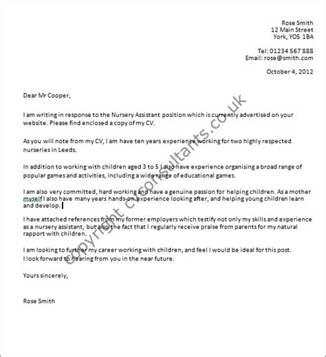 uk cover letter template nursery assistant cover letter exle