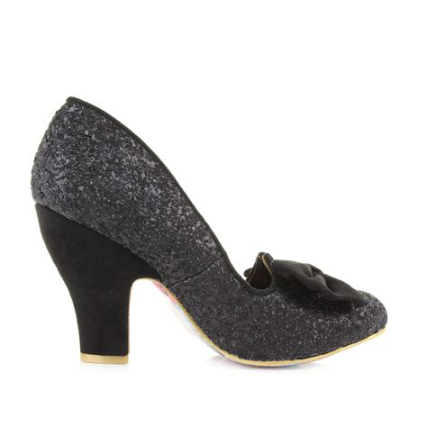 nick shoes womens irregular choice nick of time black glitter court