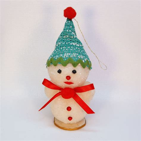 vintage snowman christmas ornament glittered frosted styrofoam