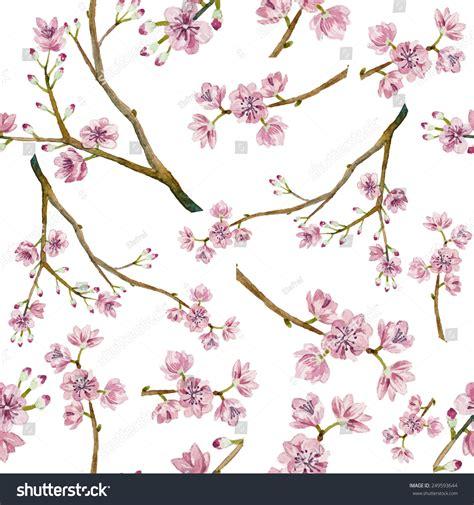 design flower branch watercolor sakura pattern seamless natural texture stock