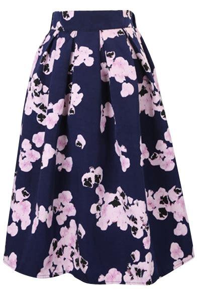 Floral Print Midi Pleated Skirt vintage floral print high waist pleated midi skirt