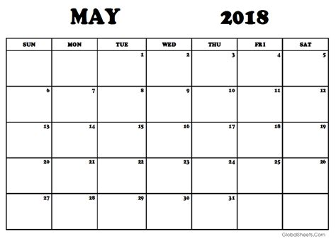 may calendar template may 2018 calendar template printable
