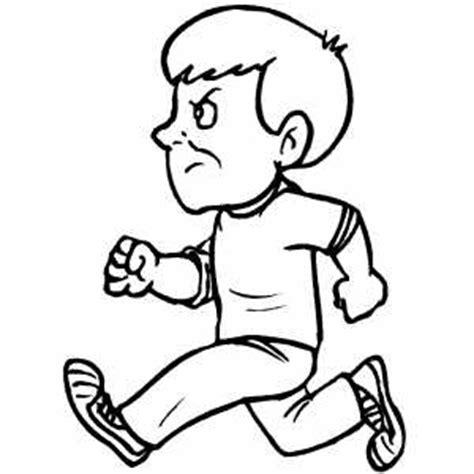 angry running boy coloring sheet