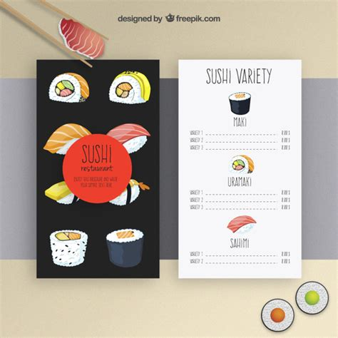 sushi menu template vector free download