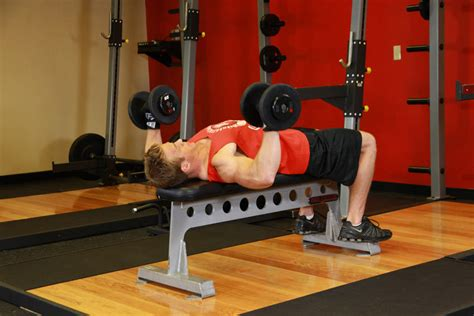 how to do a flat bench press dumbbell bench press exercise guide and video