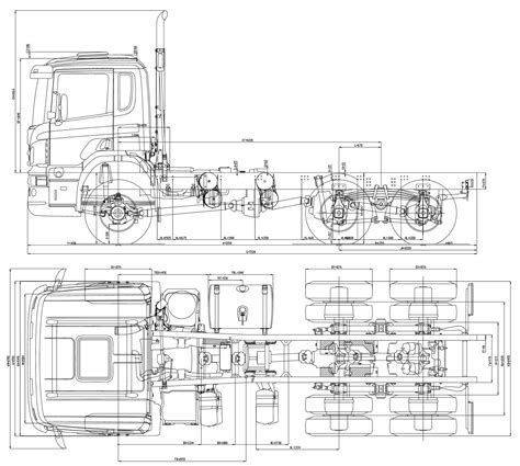 R Drawing Package by Scania Cb 6x6 Heavy Truck Blueprints Free Outlines