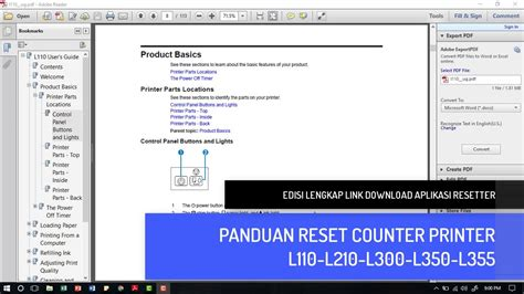 cara reset epson l210 manual cara reset printer epson l110 l210 l300 l350 l355 youtube