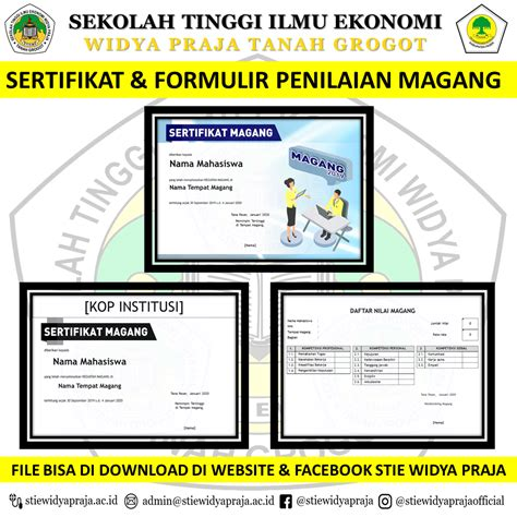 sertifikat formulir penilaian magang stie