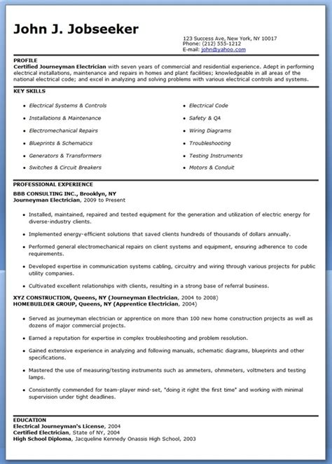 journeyman electrician resume sles creative resume
