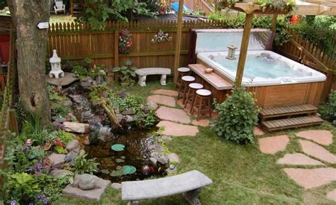 hot tub backyard design ideas with seats home interior