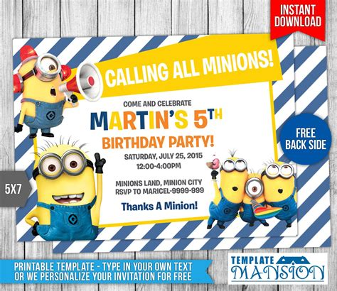 minion birthday card template minion birthday invitations best ideas