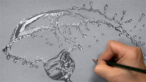 Drawing Water by How I Draw A Glass With Splashing Water Time Lapse
