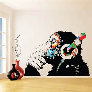 Wall Sticker Pictures banksy vinyl wall decal monkey with headphones colorful