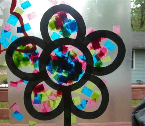 Stained Glass Paper Craft - contact tissue paper stained glass flower t port