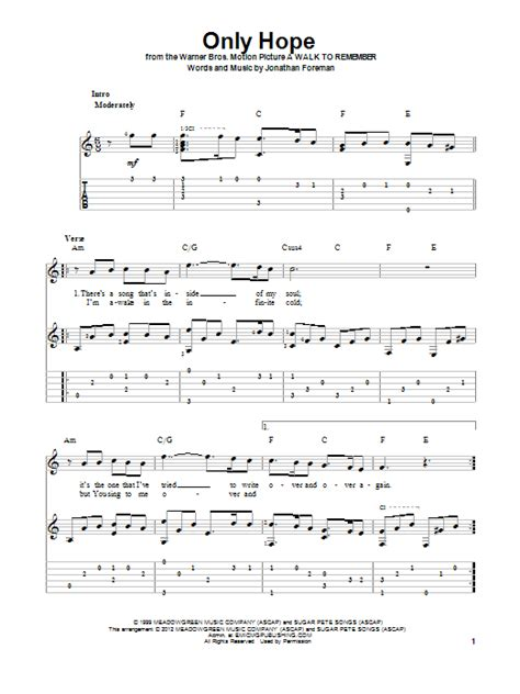 Only Hope Mandy Moore Guitar Chords