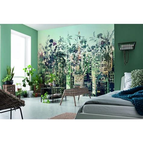 home depot wall murals komar 100 in h x 145 in w jungle wall mural 8 979 the home depot