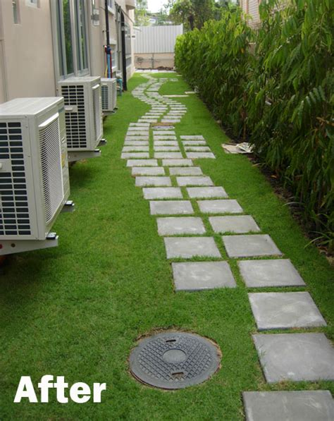 new hotel grass and paver pathway thai garden design
