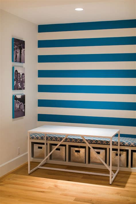 blue striped walls homework room contemporary boy s room evars and anderson
