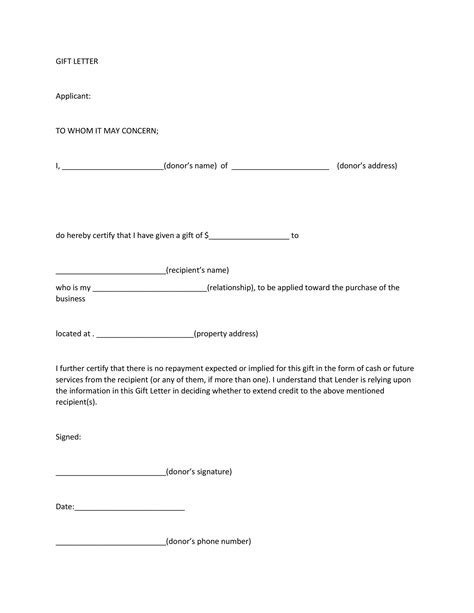 fnma gift letter letter template