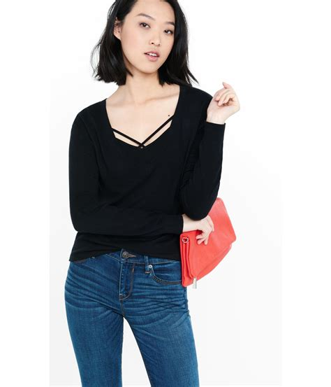 Sweater 10179741 Black V Back express v neck cut out zip back abbreviated sweater in black lyst
