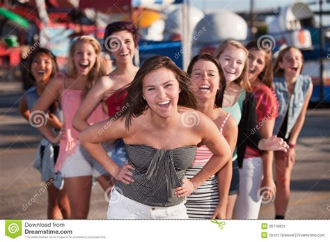 group teen girls laughing eight girls laughing stock image image of laughter