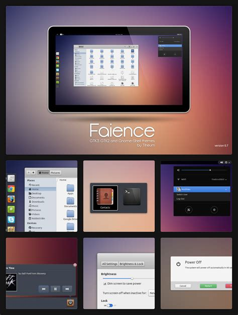 best themes gnome 3 16 faience theme for gnome shell gtk3