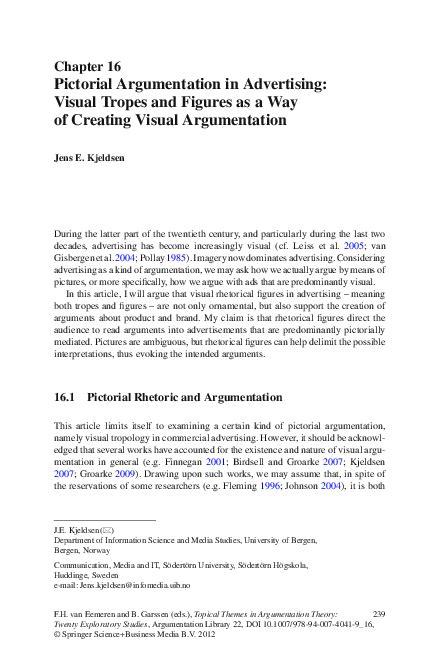 Pdf Pictorial Argumentation In Advertising Jens E