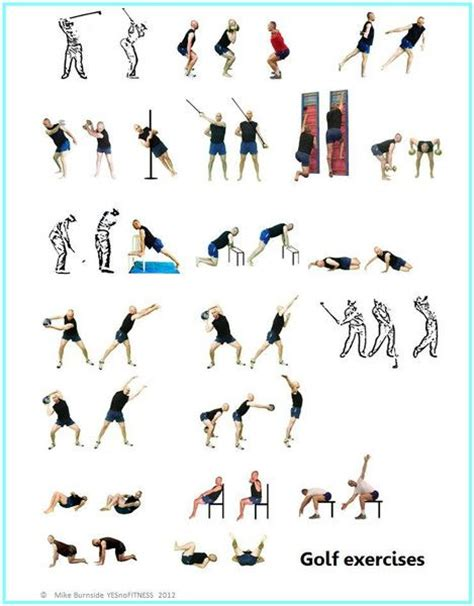 gym exercises for golf swing golf stretch and strength exercise poster www yesnofitness