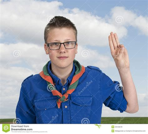 boy and boy scout an oath swear royalty free stock images